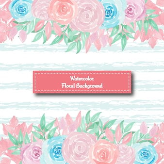 Gorgeous floral background with blue and pink roses