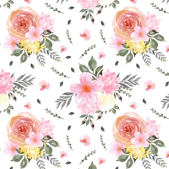 Gorgeous floral seamless pattern with colorful flowers