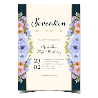 Gorgeous happy birthday card with colorful flowers and gold frame