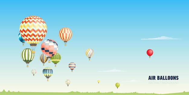 Gorgeous horizontal banner, or picturesque landscape with hot air balloons flying in clear blue sky. festival of beautiful manned aircrafts. vector illustration in flat cartoon style.