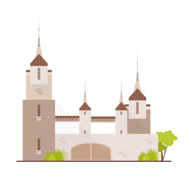 화려한 중세 성, 동화 요새, 환상적인 성채 또는 거점 흰색으로 격리