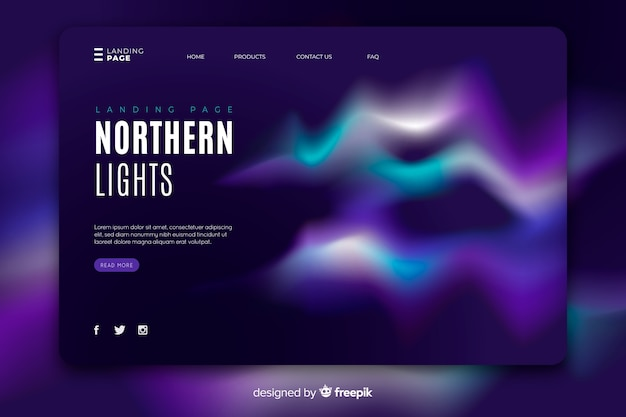 Gorgeous northern lights landing page