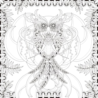 Gorgeous owl coloring page in exquisite style