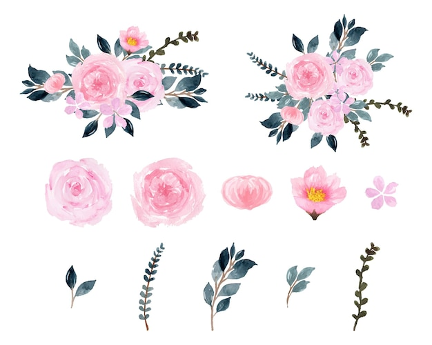 Великолепные розовые акварельные цветы