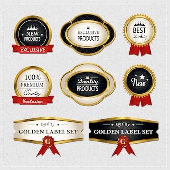 グレーの上にゴージャスなプレミアム品質のゴールデンラベルコレクション