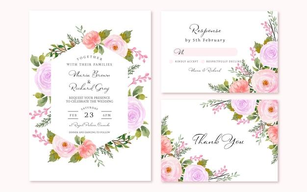 Splendida suite di invito a nozze floreale rosso e viola