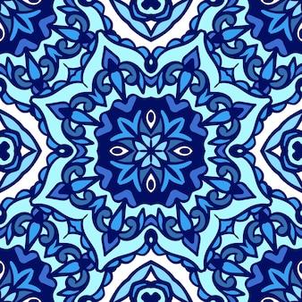 Великолепный бесшовный синий этнический абстрактный узор