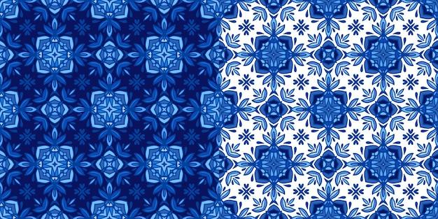 青と白のオリエンタルタイルからのゴージャスなシームレスパッチワークパターン。モロッコのモザイク。シームレスな壁紙。 Premiumベクター