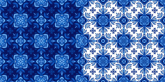Gorgeous seamless patchwork pattern from blue and white oriental tiles. moroccan mosaic. seamless wallpaper.