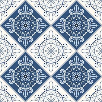 ダークブルーとホワイトのモロッコ、ポルトガルのタイル、アズレージョ、装飾品からのゴージャスなシームレスパターン。