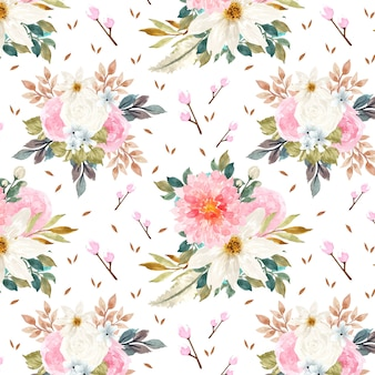 Gorgeous seamless pattern with colorful flowers