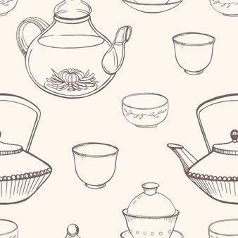 伝統的なアジアの茶道具との豪華なシームレスパターン