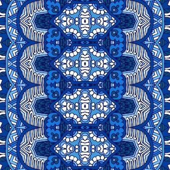 Великолепный бесшовный зимний узор декора из синих и белых орнаментов восточной плитки
