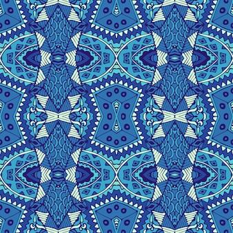 青と白のオリエンタルタイルからのゴージャスなシームレスな冬の装飾パターン