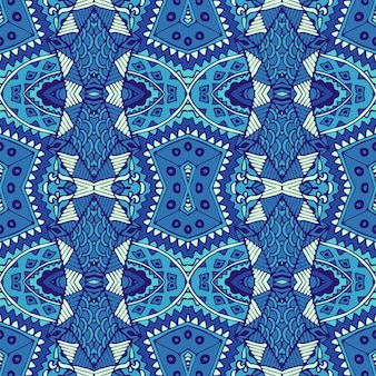 Gorgeous seamless winter decor pattern from blue and white oriental tiles