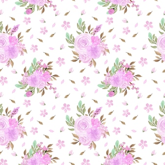 Gorgeous soft purple flower watercolor seamless pattern