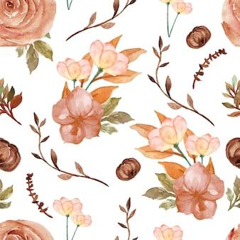 Gorgeous vintage brown floral seamless pattern