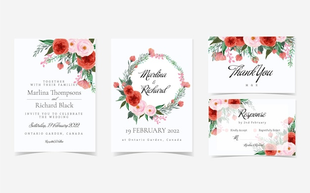 Gorgeous vintage red and pink floral wedding invitation suite