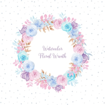 Gorgeous watercolor floral frame with colorful flowers