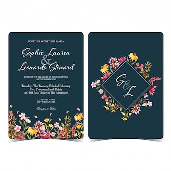 Gorgeous wild floral wedding invitation with monogram