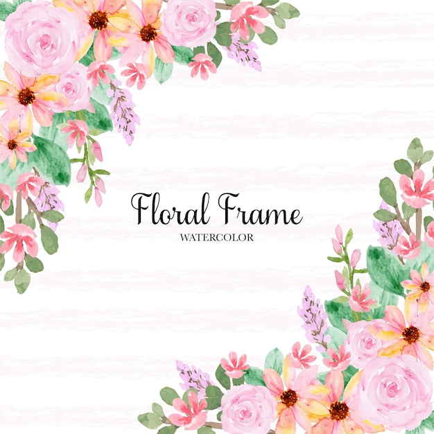 ゴージャスな黄色のピンクのバラのフレーム