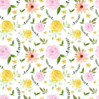 화려한 노란색 핑크 장미 소박한 꽃 원활한 패턴