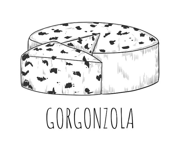 절연 형 스케치와 gorgonzola 치즈 낙농 식품