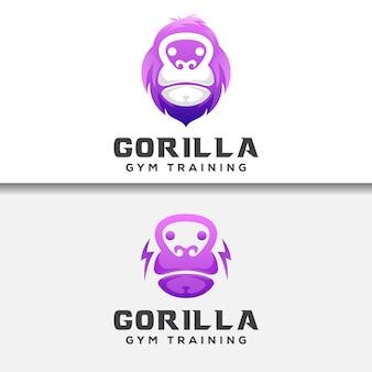 Тренажерный зал gorila или кинг-конг с коллекцией гири
