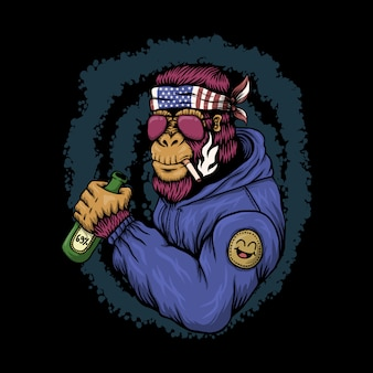 Gorilla alcoholic illustration