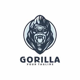 Gorilla angry logo template vector