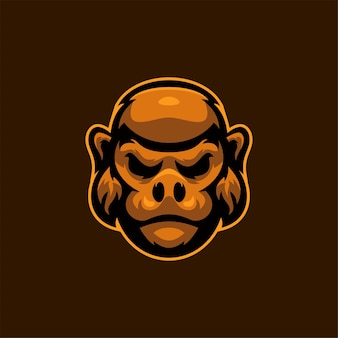 고릴라 동물 머리 만화 로고 템플릿 그림 esport 로고 게임 프리미엄 벡터