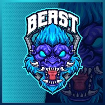 고릴라 유인원 야수 마스코트 esport 로고 디자인 일러스트레이션 템플릿, 게이머를 위한 고릴라 로고
