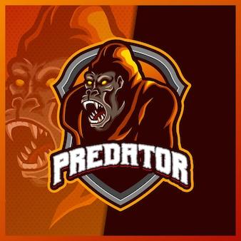 고릴라 원숭이 마스코트 esport 로고 디자인 일러스트 템플릿, 고릴라 동물 만화 스타일