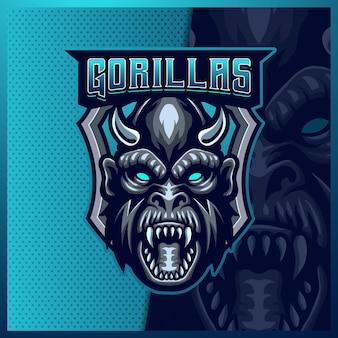 Шаблон иллюстраций дизайна логотипа талисмана гориллы обезьяны киберспорта, логотип животного гориллы
