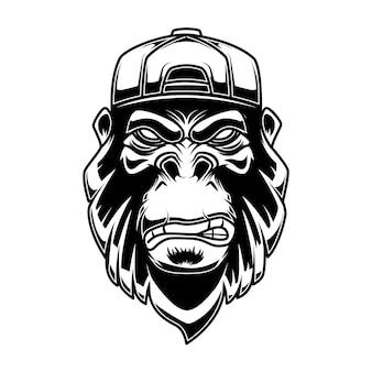 Gorilla in baseball cap on white background.