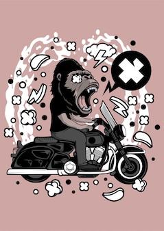 Gorilla biker illustration