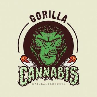 Gorilla cannabis smoke logo иллюстрации
