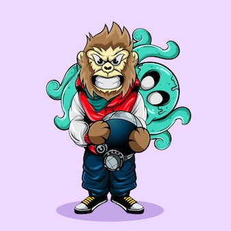 Gorilla character holding an astronaut helmet with the octopus zombie in the back