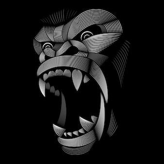 ゴリラのデザイン。リノカットスタイル。黒と白。線図。