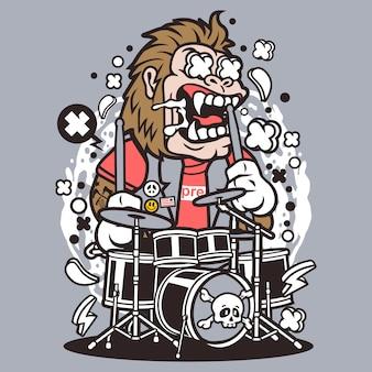 Gorilla drummer Premium Vector