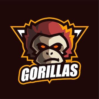 Логотип gorilla e-sport Premium векторы