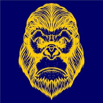 ゴリラの顔のアートワークillustratio