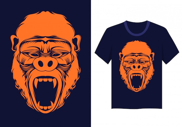 Gorilla face t shirt