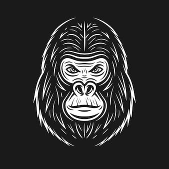 Gorilla face vector illustration in vintage style on dark background