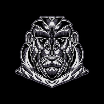 Gorilla face vector illustration
