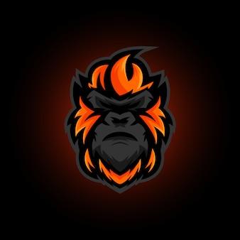 Логотип талисмана гориллы, логотип gorilla gaming e sports