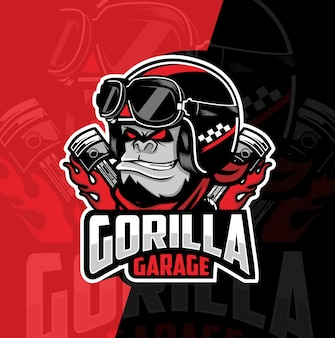 Gorilla garage mascot esport logo design