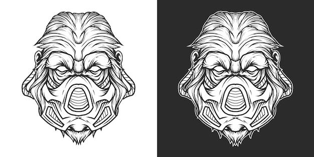 Gorilla gasmask head logo line art