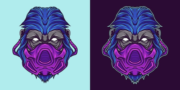 Gorilla gasmask head талисман логотип иллюстрация