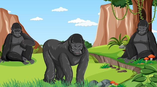 Gorilla group in forest or rainforest scene with many trees